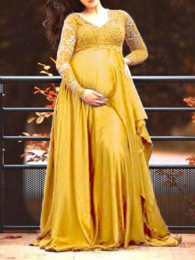 Yellow Patchwork Lace Deep V-neck PhotoShoot Elegant Maternity Dress