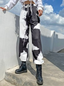 Black White Tie Dye High Waisted Sports Casual Pants
