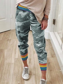 Grey Camouflage Casual Sports Workout Jogger Long Sweat Pants