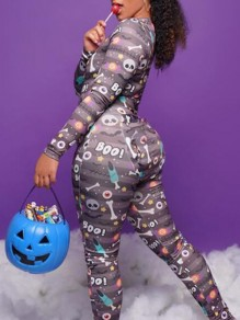 Black Cartoon Skull Pumpkin Print Pajama Loungewear Lounge Jumpsuit