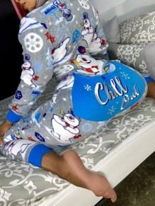 Grey Cartoon Print Long Sleeve Christmas Onesie Loungewear Pajama With Butt Flap