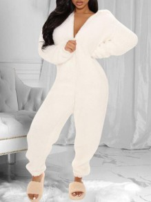 White Zipper Teddy Fuzzy Ear Hooded Long Romper Loungewear Tracksuit Jumpsuit Pajama