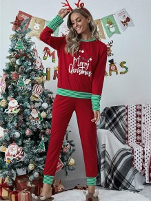 Red Striped Floral Two Piece Christmas Round Neck Long Loungewear Pajama