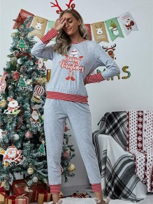 Light Grey Striped Floral Two Piece Christmas Round Neck Long Loungewear Pajama