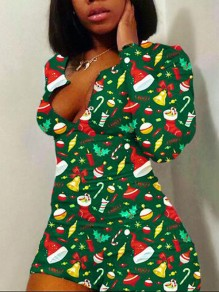 Green Cartoon Print Deep V-neck Christmas Romper Sleepwear Short Jumpsuit Pajama