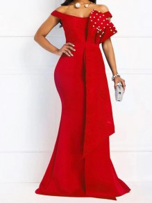 Red Patchwork Lace Pearl Trendy V-neck Party Maxi Dress