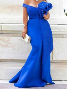 Blue Patchwork Lace Pearl Trendy V-neck Party Maxi Dress