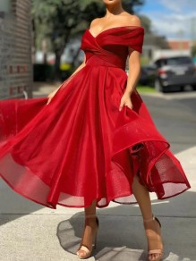 Red Patchwork Grenadine Ruffle Tulle Boat Neck Sweet Maxi Dress