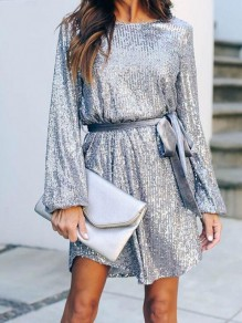 Silver Patchwork Belt Sequin Sparkly Round Neck Going out Mini Dress