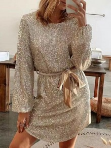 Golden Patchwork Belt Sequin Sparkly Round Neck Going out Mini Dress