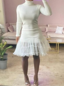 White Patchwork Lace Tiered Tutu High Neck Sweet Mini Dress