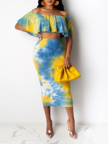 Yellow Floral 2-in-1 Ruffle Trendy Boat Neck Sweet Two-Piece Dress