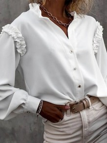 White Patchwork Pleated Buttons Trendy Turndown Collar Elegant Blouse