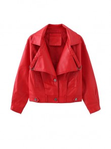 Red Patchwork Buttons Pockets Rock and Roll Turndown Collar Modern Outerwear