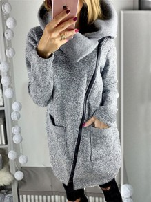Grey Patchwork Pockets Zipper Comfy Turndown Collar Going out Outerwear