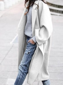 White Patchwork Pockets Buttons Trendy V-neck Loose Outerwear