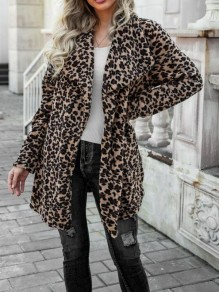 Black Leopard Buttons Pockets Trendy Turndown Collar Going out Outerwear