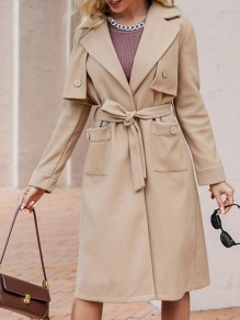 Camel Patchwork Buttons Pockets Comfy Turndown Collar Going out Outerwear
