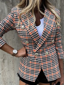 White Plaid Buttons Trendy Turndown Collar Going out Outerwear