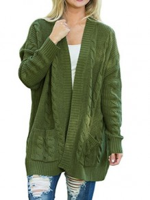 Green Patchwork Pockets Ruffle Comfy Round Neck Loose Cardigan Sweater