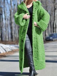 Green Patchwork Buttons Ruffle Cardigan?Comfy Hooded Going out Sweater