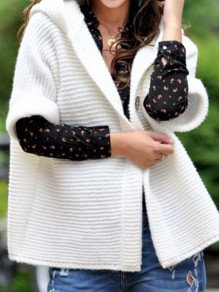 White Patchwork Buttons Ruffle Trendy Hooded Fashion Cardigan