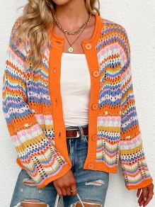 Orange Colorful Buttons Cut Out Trendy V-neck Loose Cardigan