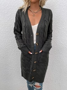 Cardigan poches boutons confortable col V sortie gris