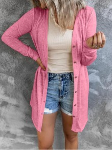 Pink Patchwork Buttons Comfy V-neck Going out Cardigan