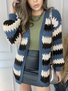 Blue Striped Patchwork Ruffle Trendy V-neck Going out Cardigan