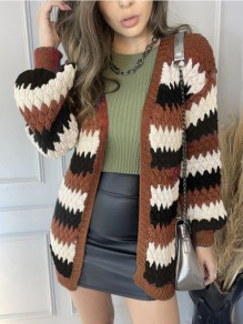 Brown Striped Patchwork Ruffle Trendy V-neck Going out Cardigan