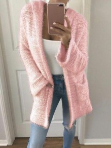 Pink Patchwork Pockets Fluffy Hooded Going out Cardigan