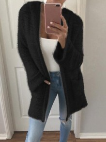 Black Patchwork Pockets Fluffy Hooded Going out Cardigan