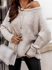 Apricot Patchwork Ruffle Comfy Boat Neck Loose Pullover Sweater