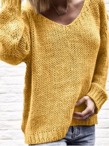 Yellow Mosaic Ruffle Comfy Scoop Neck Going out Pullover Sweater