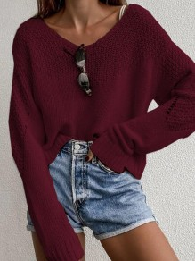 Red Patchwork Ruffle Comfy Scoop Neck Honey Girl Pullover Sweater