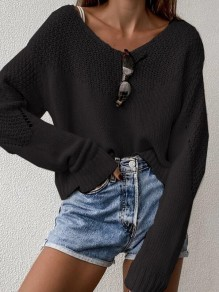 Black Patchwork Ruffle Comfy Scoop Neck Honey Girl Pullover Sweater