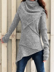 Grey Patchwork Irregular Buttons Comfy Ruffle Collar Vintage Pullover