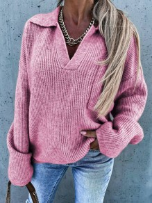 Pink Patchwork Ruffle Trendy Turndown Collar Going out Pullover