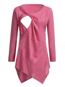 Red Patchwork Cut Out Comfy Round Neck Sweet Maternity T-Shirt