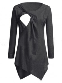 Grey Patchwork Cut Out Comfy Round Neck Sweet Maternity T-Shirt