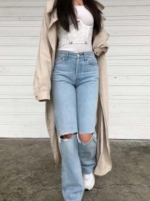 Blue Patchwork Buttons Trendy Mid-rise Ripped Destroyed Cowboy Jeans