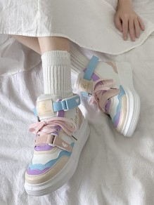 Pink Round Toe Flat Print Casual Modern Shoes