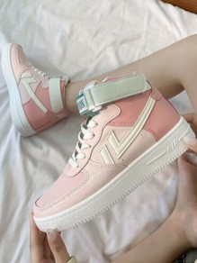 Pink Round Toe Flat Print Casual Sweet Shoes