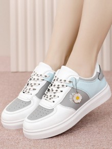Blue Round Toe Flat Print Casual Sports Shoes