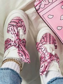 Pink Round Toe Flat Bow Casual Going out Shoes