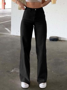 Black Patchwork Pockets Buttons Comfy High Waisted Straight Pants