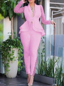 Pink Patchwork Lace 2-in-1 Trendy V-neck Going out Suit