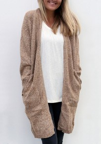 Khaki Pockets Draped Long Sleeve Fashion Cardigan Sweater