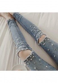 Light Blue Patchwork Pearl Pockets Cut Out Fashion Long Jeans